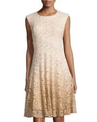 Chetta B Shimmery Ombre Lace Cap Sleeve Dress Gold