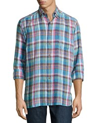 Ike Behar Crawford Plaid Long Sleeve Shirt Blue