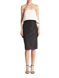 Monique Lhuillier Strapless Popover Dress Silk White Black