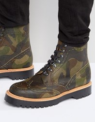 Asos Brogue Boots In Camo Leather Made In England Camo Black