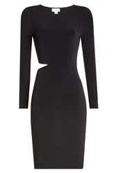 Velvet Jersey Dress With Cut Out Side Black