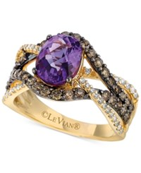 Le Vian Ocean Wave Amethyst 1 3 8 Ct. T.W. And Diamond 1 Ct. T.W. Statement Ring In 14K Gold Yellow Gold