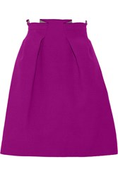 Roland Mouret Kava Pleated Wool Crepe Mini Skirt Purple