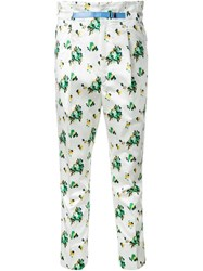 Toga Flower Print Cropped Trousers White