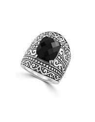 Effy Black Onyx And Sterling Silver Tribal Ring