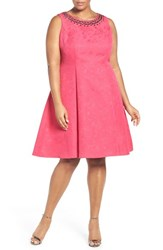 London Times Plus Size Women's Embellished Floral Fit And Flare Dress