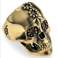 Platadepalo Bronze Skull Ring With Zircon Stone Brown