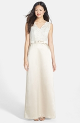 Sleeveless Lace And Matte Satin Dress Palomino