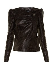 Isabel Marant Connie Laser Cut Leather Jacket Black