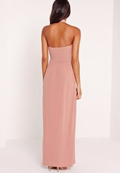 Missguided Cross Halter Neck Slinky Maxi Dress Pink Red