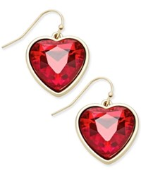 Thalia Sodi Gold Tone Red Stone Heart Drop Earrings Only At Macy's