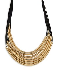 Design Lab Lord And Taylor Leather Tube Accented Tiered Necklace Multi