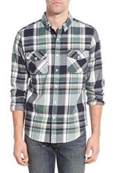 Men's United By Blue 'South Plaid' Regular Fit Organic Cotton Sport Shirt Green Olive