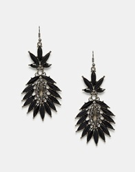 Paper Dolls Heavily Embellished Spike Jewel Earrings Black