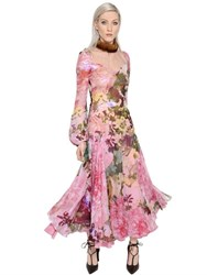 Blumarine Mink Collar Floral Printed Chiffon Dress