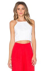 J.O.A. Button Front Crop Top White