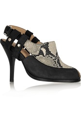 Thakoon Sophie Nubuck And Snake Effect Leather Pumps Animal Print