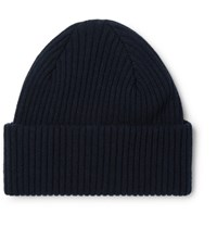 Paul Smith Ribbed Cashmere Beanie Navy