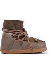 Ikkii Shearling Lined Leather And Suede Boots Brown