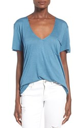Women's Project Social T Raw Edge V Neck Tee Teal
