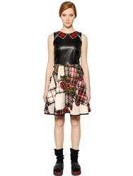 I'm Isola Marras Faux Leather And Printed Neoprene Dress