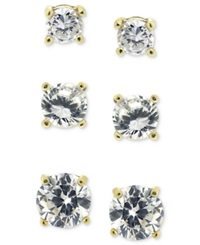 B. Brilliant 18K Gold Over Sterling Silver Earring Set Cubic Zirconia Round Trio Stud Set 1 3 4 Ct. T.W.