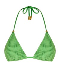 Lazul Nubia Textured Triangle Bikini Top Female Green