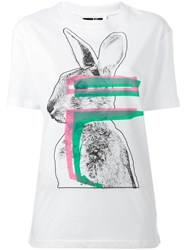 Mcq By Alexander Mcqueen Glitch Bunny Print T Shirt White