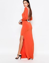 Rare Long Sleeve Maxi Dress With Jewelled Neckline And Cuff Orange