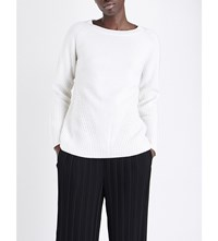Allude Contrast Knit Wool And Cashmere Blend Jumper 40 Cream