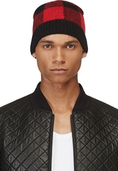 Saint Laurent Black And Red Damier Beanie