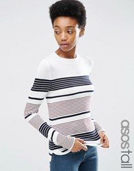 Asos Tall Jumper With Crew Neck In Stripe In Soft Yarn Multi