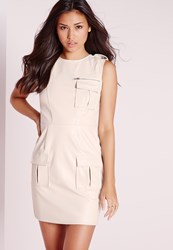 Missguided Sleeveless Faux Leather Pocket Front Bodycon Dress Ivory Ivory