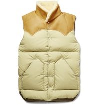 Rocky Mountain Featherbed Christy Leather And Shearling Trimmed Shell Down Gilet White