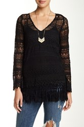 Love And Liberty Long Sleeve Crochet Lace Tunic Black