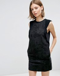 See U Soon Shift Dress In Jacquard With Piping Detail Black