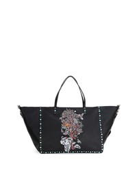 Valentino Tree Of Life Large Reversible Tote Bag Black Multi Black Pattern