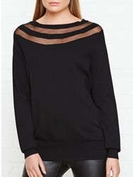 Reiss Carla Long Sleeve Knit Mesh Detail Top Black