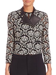 Yigal Azrouel Embroidered Lace Moto Jacket Jewel Multicolor