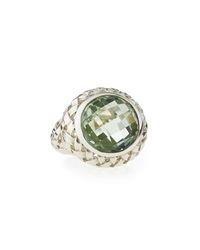 Slane Basket Weave Ring W Green Amethyst Size 7