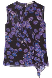 Jason Wu Ruffled Crinkled Silk Chiffon Top Purple