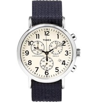 Timex Weekender Stainless Steel And Webbing Chronograph Watch Blue