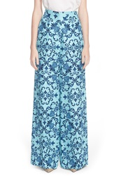 Escada Heritage Print Wide Leg Silk Pants Blue Multi