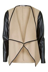 Faux Leather Sleeved Waterfall Jacket By Wal G Beige