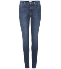 Mother Looker High Waisted Skinny Jeans Blue