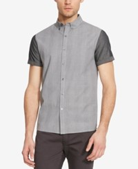 Kenneth Cole New York Men's Colorblocked Plaid Short Sleeve Shirt Black Combo