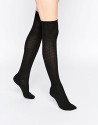 Abs By Allen Schwartz Over The Knee Cable Socks Black