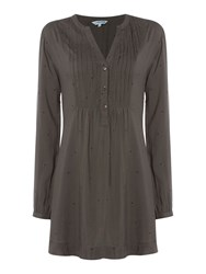 Dickins And Jones Tabetha Tunic Button Front Woven Top Grey