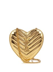 Saint Laurent Love Monogram Quilted Leather Cross Body Bag Gold
