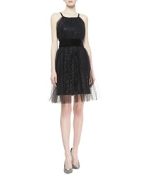 Notte By Marchesa Sequined Velvet Cocktail Dress 8